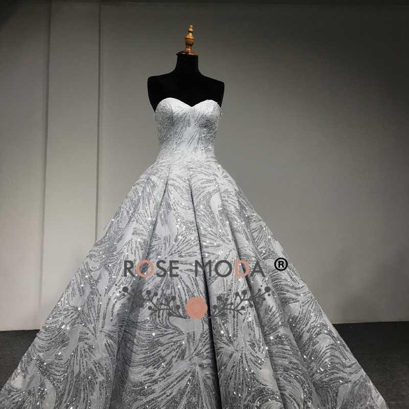 ... Rose Moda Luxury Gold Silver Glitter Wedding Dress 2018 Strapless Bling  Wedding Ball Gown Arabic Wedding ... 3ff226511bfb