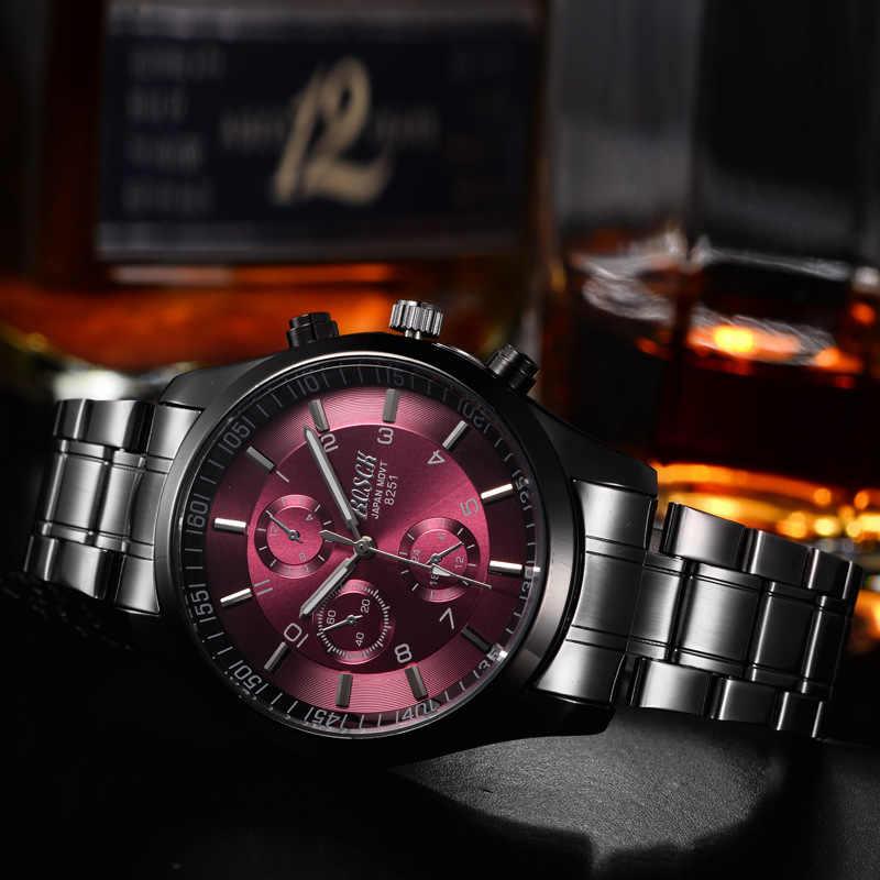 Top marque de luxe Bosck hommes étanche en acier inoxydable bande montre militaire noir Quartz montres homme montre-bracelet d'affaires 2017
