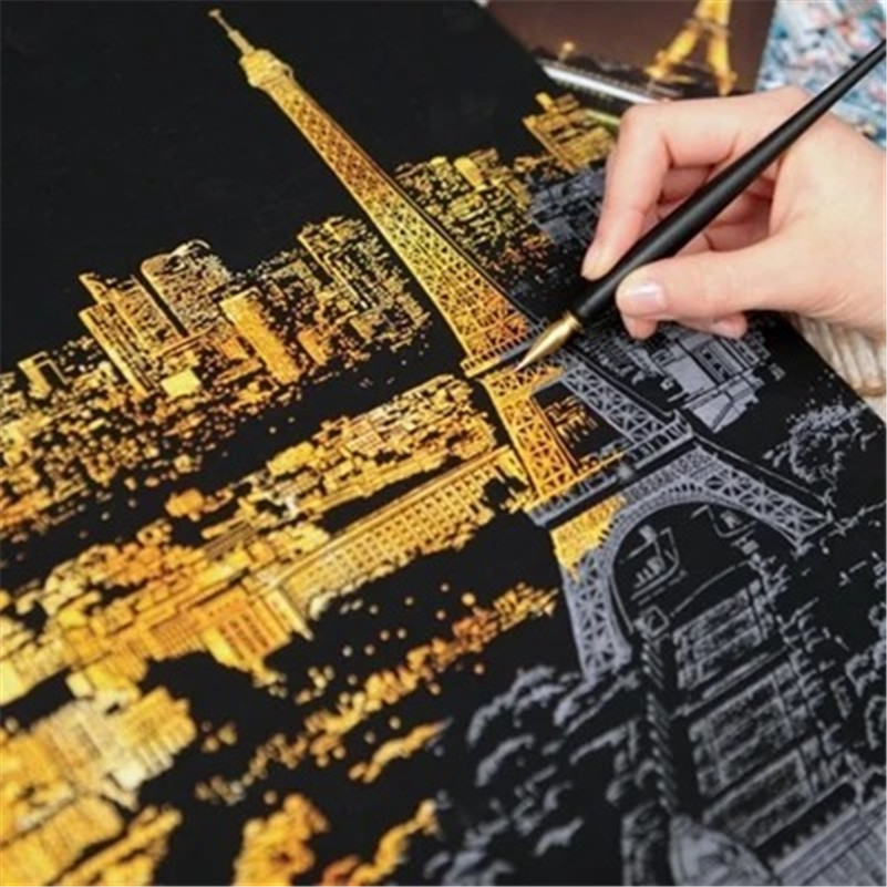 4Pcs/Lot Famous Cities Scratch Painting Papers Scratch Art Paper Scratch Night View Painting Gifts Party Favors Random Style