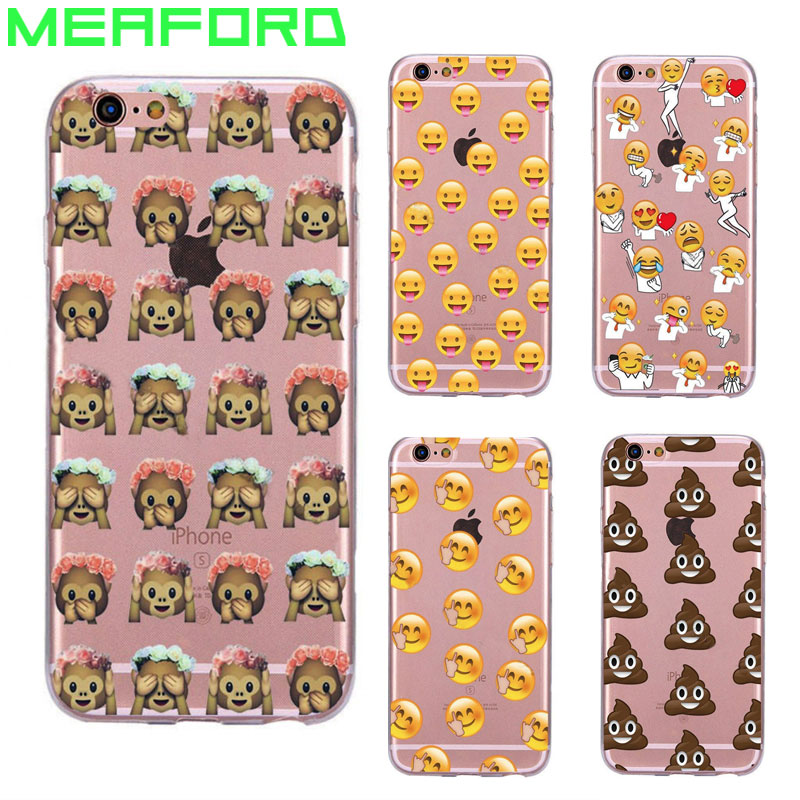 Cute Funny <font><b>Emoji</b></font> <font><b>Phone</b></font> <font><b>Case</b></font> For iPhone 5S <font><b>Case</b></font> SE Coque Monkey Smiley Face Soft TPU Silicon Back Cover For iPhone 5 5S SE <font><b>Cases</b></font>