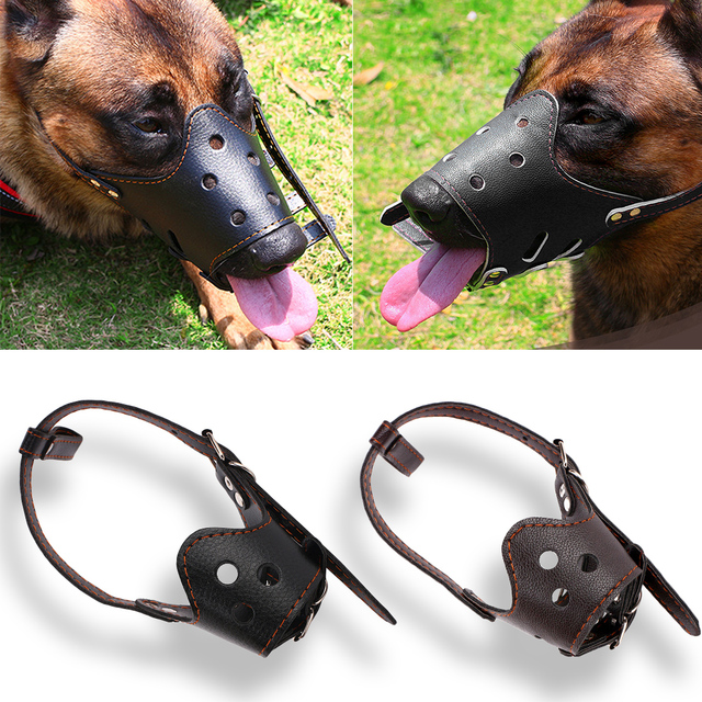Máscara transpirable ajustable de cuero PU perro mascota bozal Anti corteza