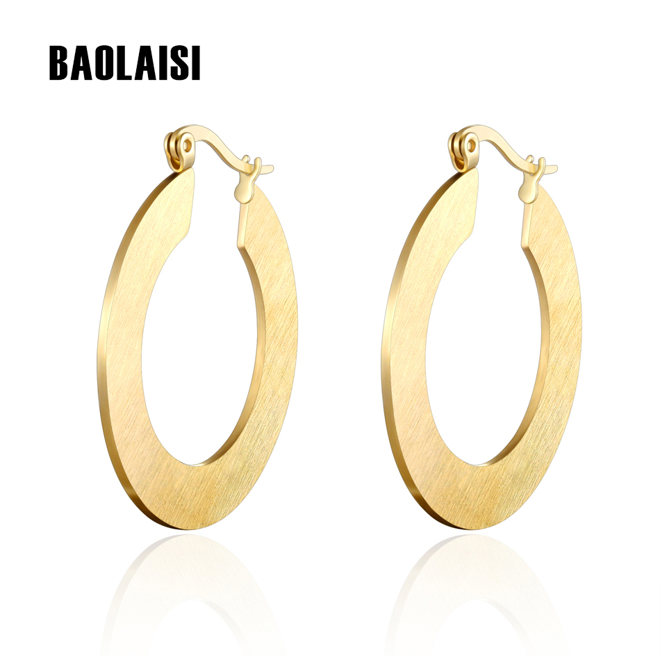 BAOLAISI Vintage Circle Round Earrings Gold Color