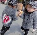 2017 Del Otoño Niños Del invierno abrigo de paño de doble botonadura abrigo de Otoño traje de lana abrigo de paño