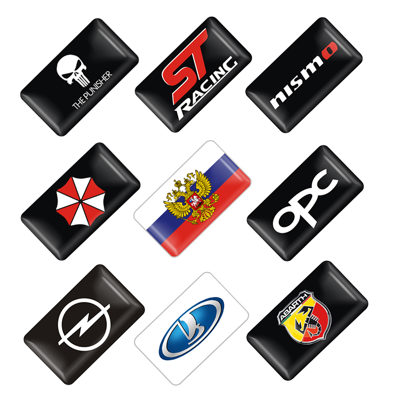 4pcs/set New Car Styling Small Decorative Badge Hub Caps Steering Wheel For Opel Opc Renault Lada Fiat Honda Car Emblem Sticker
