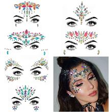 METABLE 6 Sets Mermaid Face Jewels Tattoo - BODY STICKERS Crystal Tears Gem Stones Bindi Temporary Stickers