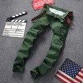2016 Otoño invierno guardapolvos de lavado de los hombres verde del ejército uniforme militar pantalones de los hombres militares multibolsillos pantalones cargo de los hombres