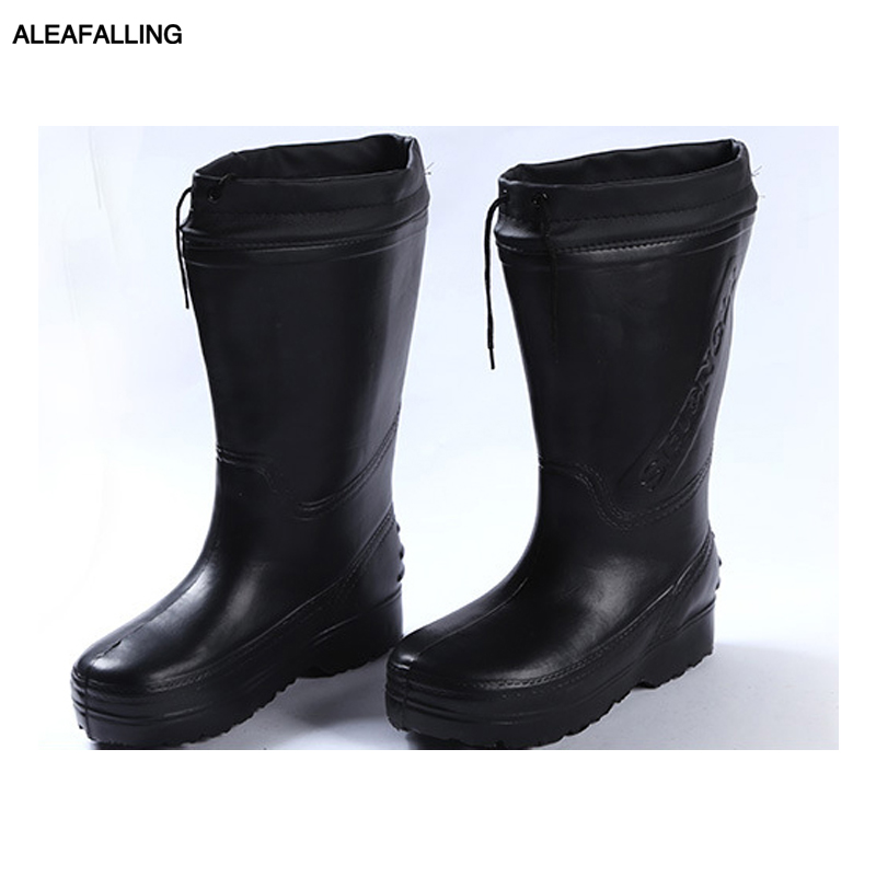Aleafalling Workshop Rain Boots Thicken Warm Waterproof Labor Slip-on Rubber Men Shoes Casual Mid-calf Marture PVC Boots M79 brother m79