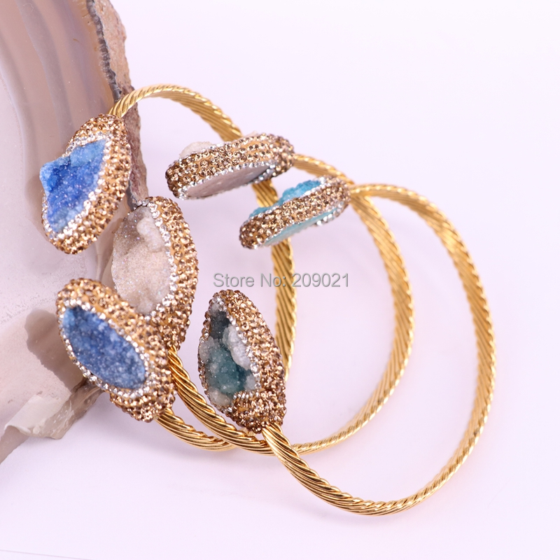 5Pcs Mix Color natural stone charm cuff bangle handmade pave crystal rhinestone metal Bangles jewelry