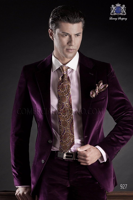 2017 Latest Coat Pant Designs Italian Purple Velvet Men Suit Groom Tuxedo Prom Blazer Style Suits Jacket Pant 2 Pieces Masculino