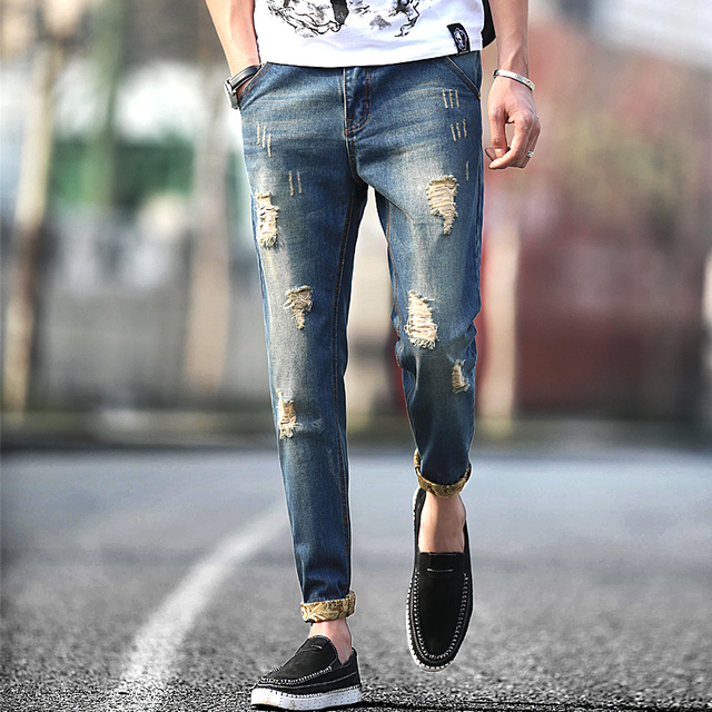 Hombres 2016 nueva moda retro ripped jeans destroyed jeans 41ed2e761c4