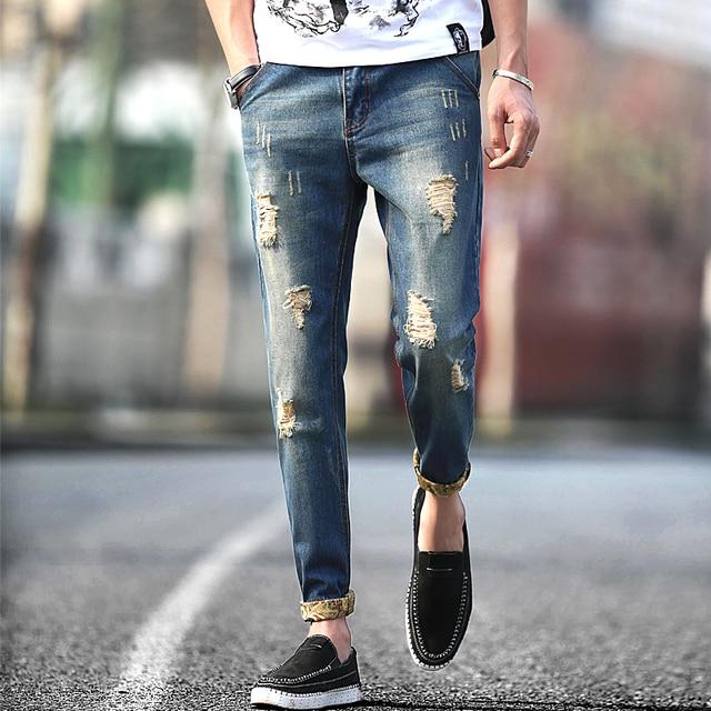 f8c948de54 Hombres 2016 nueva moda retro ripped jeans destroyed jeans