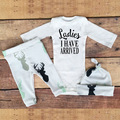 3 pcs Senhoras Que Eu Tenho Chegou Gorros Chapéu Do Bebê Conjunto Roupa Do Bebê da Roupa Do Bebê Recém-nascido Macacão de Bebê Calças Legging 0-24 Meses