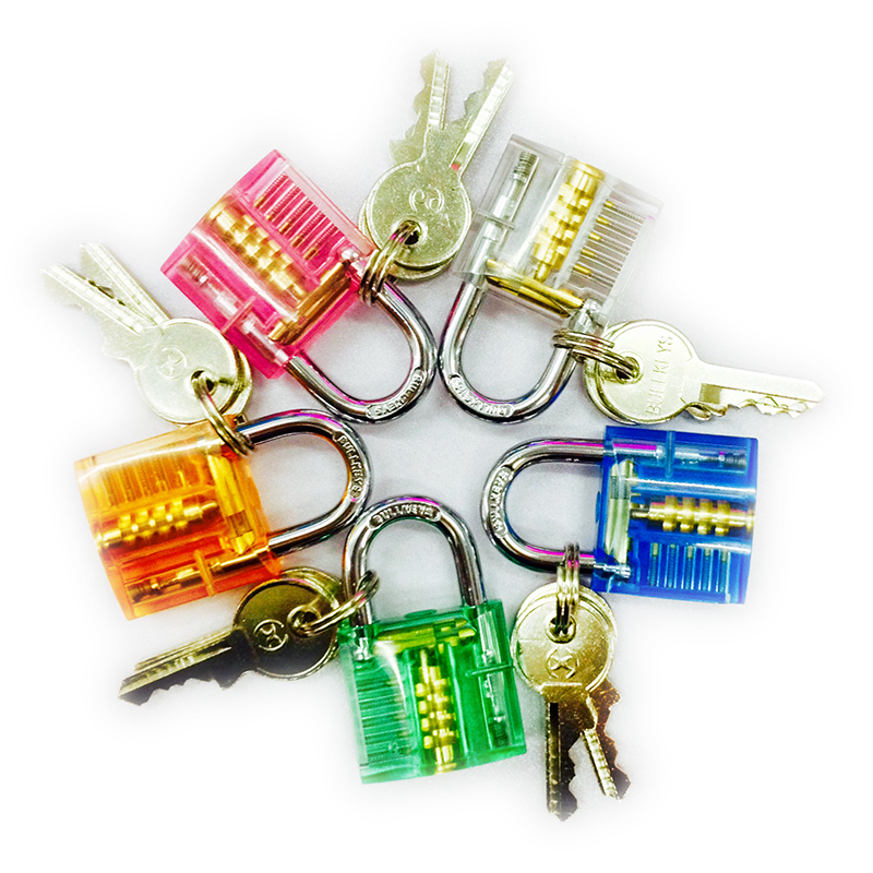 ФОТО HOT Sale!!BULLKEYS Colorful Transparent Mini Crystal Padlock Packed with Clear Box BK012