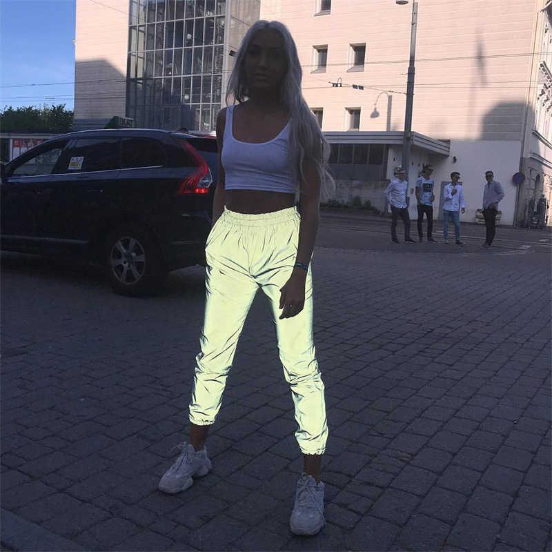Pantalones flojos deportivos reflectantes para mujer Pantalones largos de satén para correr pantalones holgados Casual Hip Hop Dance moda Streetwear harajuku