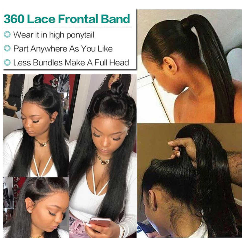 360 Lace Frontal With Bundle Straight Tuneful Malaysian Remy Human Hair Hair Pre Plucked 360 Lace Frontal Band with Bundles