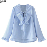 Women Lace Up Lattice Front Ruffles Layered Blue Stripes Blouse 2017 Long Flare Sleeve V Neck