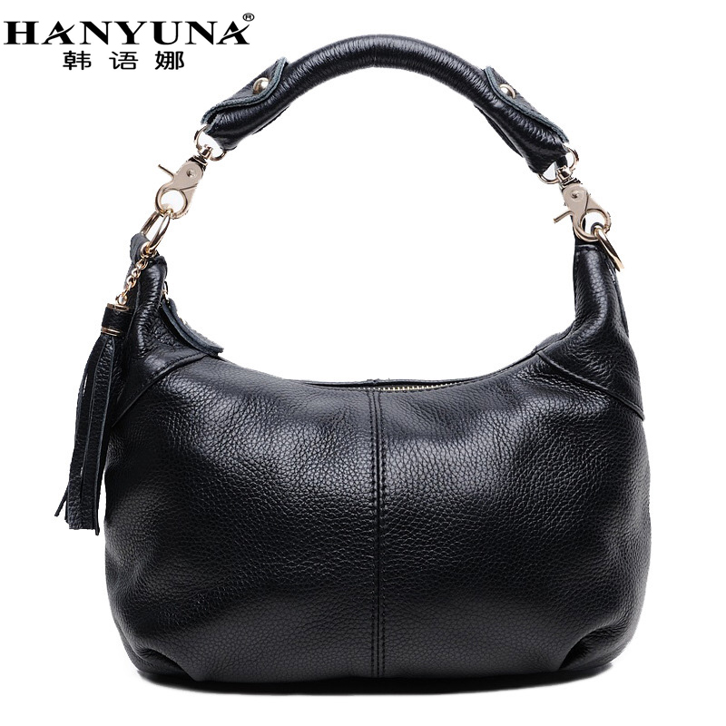 HANYUNA 2017 New Fashion 100% Genuine Leather Women's Bag Ladies Baguette Female Crossbody Bag Casual Solid Female Bag new female 100