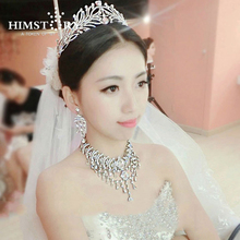 Noble Luxury Olive Shape Large Rhinestones Crystal Bridal Jewelry Sets Silver Gorgeous Wedding jewelry sets