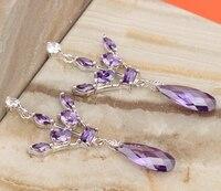 Nice Crown Purple Cubic zirconia 925 Sterling Silver Fashion For Women's Jewelry Drop Dangle Earrings S5367