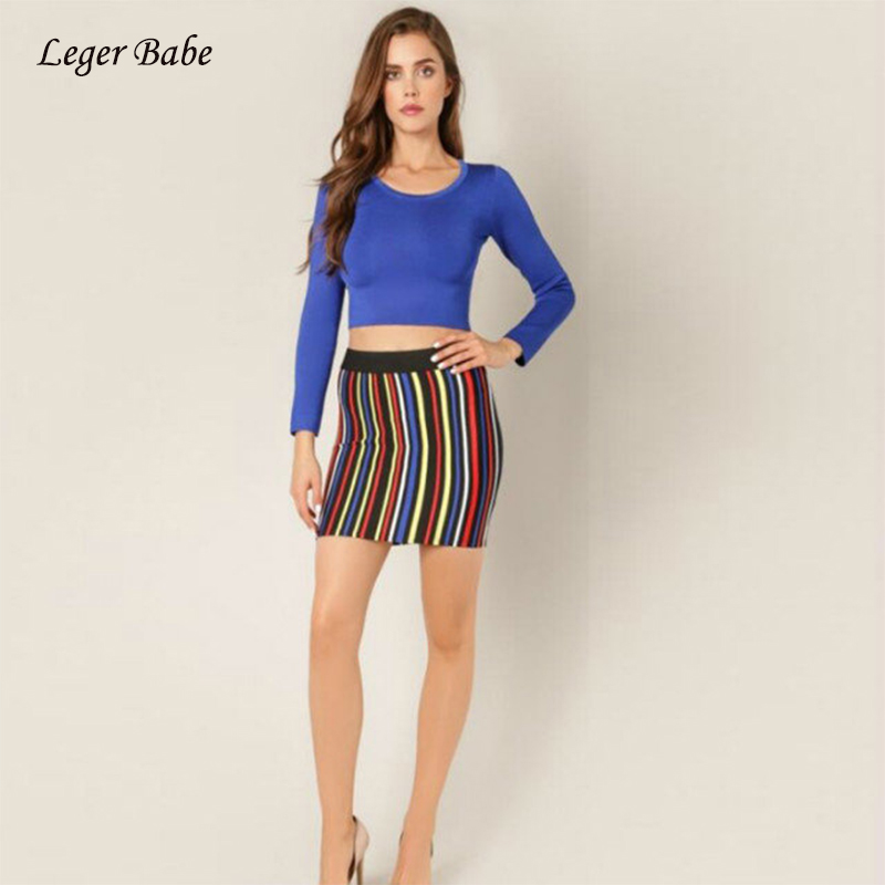 Leger Babe Bandage Two Piece Set Women Clubwear Long Sleeve O Neck Short Crop Top Striped Mini Skirt Two Pieces Set Slim Outfits ...
