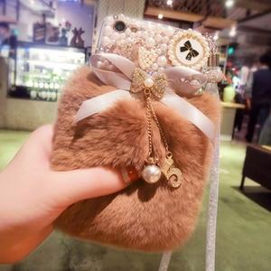 Image 4 - 3D חמוד ארנב שעיר חם פרווה בלינג ריינסטון קטיפה פרל כיסוי מקרה עבור SamsungS6 S7 S8 S9 S10 S20 בתוספת לייט Note5 8 9 10 20