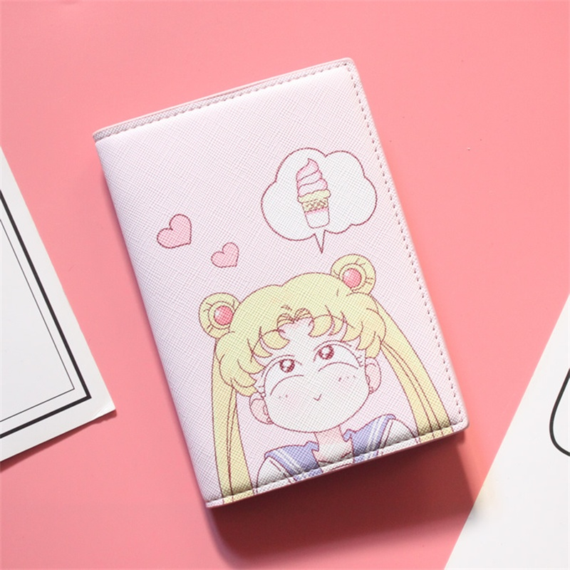 App Blog Cute Cartoon Anime Sailor Moon Tsukino Usagi Cards Holder Wallet Case Travel Passport Cover Id Credit Cards Bag Women Luggage & Bags