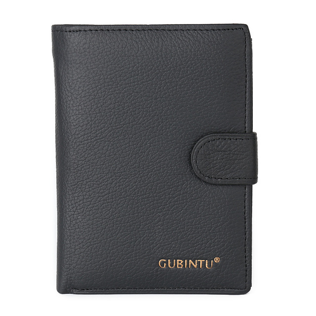 Fashion New Soft Genuine Leather Men's Middle Long Wallets Black Color Credit Card Holder Bits Passcard Pocket Coin Purse Wallet