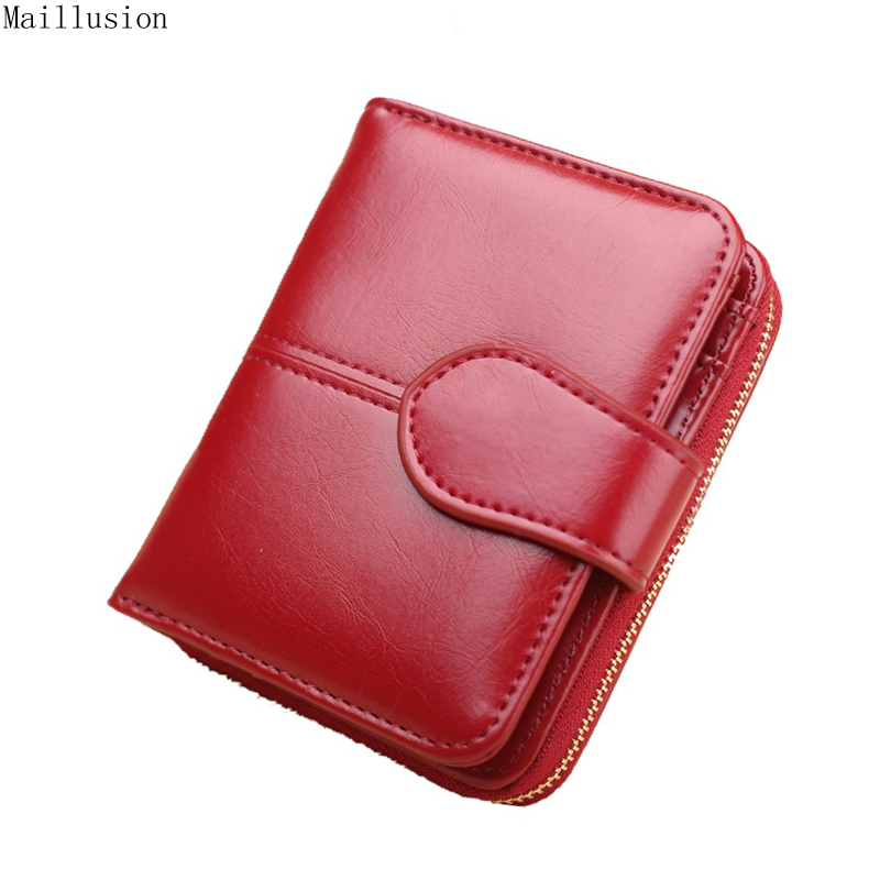 Maillusion Women Wallets Oil Wax Leather Fashion Hasp Short Coin Purses Holders Money Pocket Female Wallet Clutch Bag For RFID 100% wax oil cowhide vintage wallets female money clips real leather clutch wallet for women credit cards change purses 2014 new
