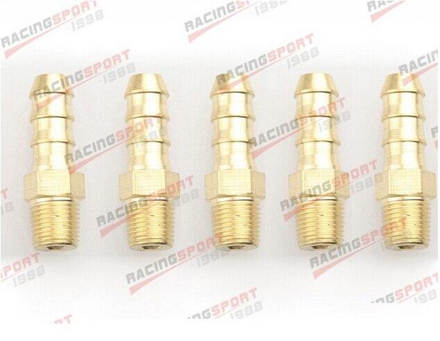 5 pcs 6mm Male Brass Hose Barbs ADBS010-5 Barb to 3/8 NPT Pipe Male Thread