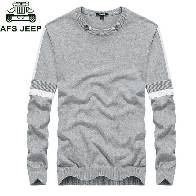 3bad2687f6 Afs Jeep 2018 Casual Fashion Autumn Sweater Men Cotton Mens Knitted Wear  Long Sleeve O-neck Thin Soft Mens Pullovers Sweaters