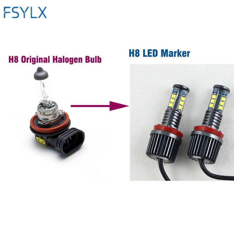 FSYLX 1 Unidades 120 W H8 LED marcador de Ojos de Ángel bombilla para BMW  X5 E70 X6 E71 E90 E91 E92 M3 E60 xenón blanco faro drl de Ojos de Ángel ... ad5c1ea94d18
