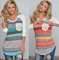 2015 New Women Fashion  Irregular  Striped T Shirts Long Sleeve O Neck Casual Winter T Shirt Tops Blusas
