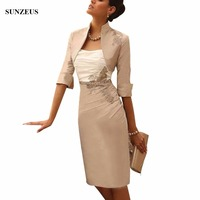 Sheath Knee Length Mother Of The Bride Dresses With High Neck Half Sleeves Jacket Elegant Women Wedding Party Gown CM0143