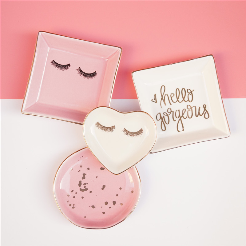 1PCS Ceramic Square Jewelry Dish Rings Round Snack candy Heart-shaped Storage tray Snack dish Decoration Plates Crafts
