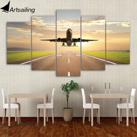 5 Piece Canvas Art Taking Off Plane HD Printed Aircraft Canvas Painting Wall Pictures For Living