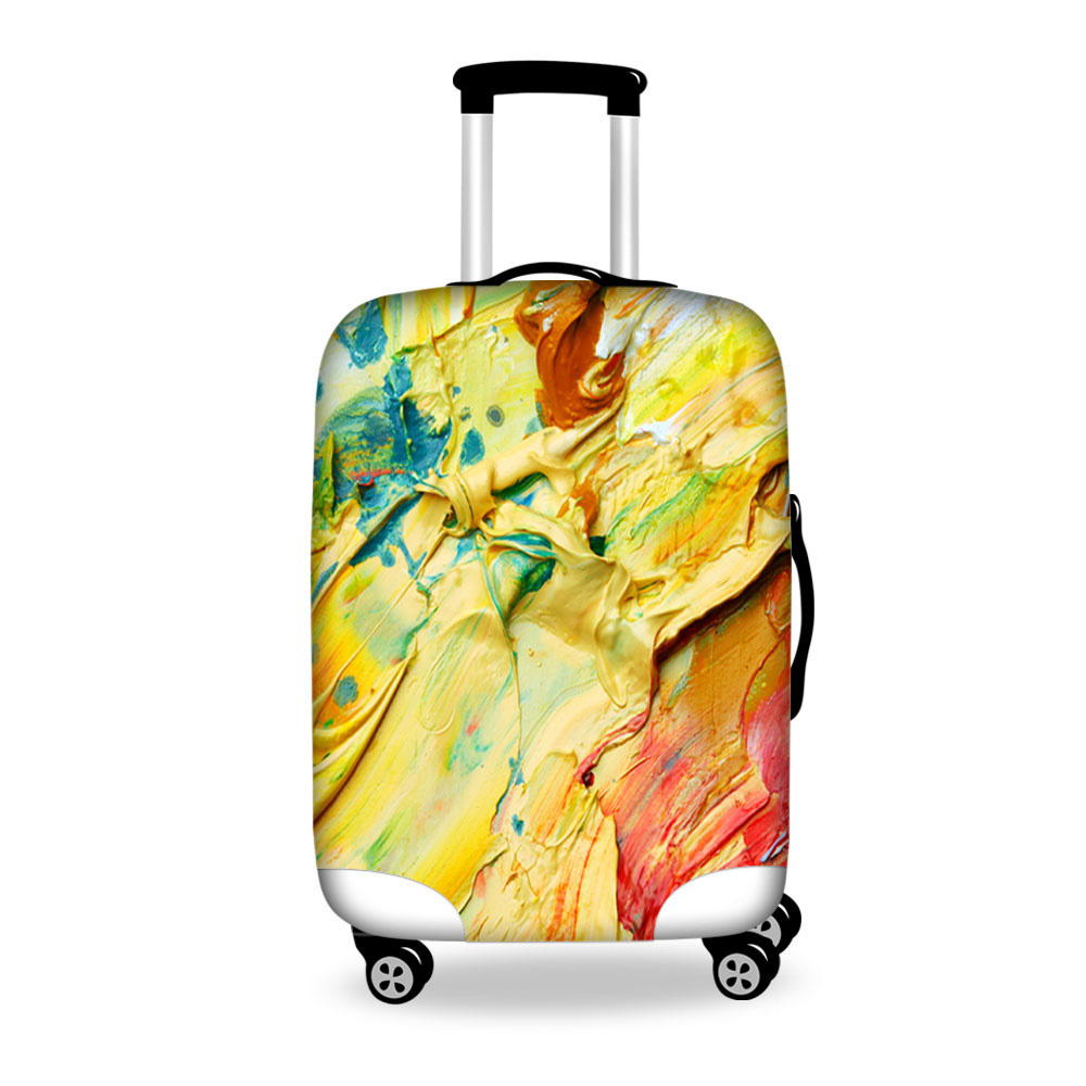 Classic Painting Travel Baggage Cover Waterproof 18-30inch Protective Dust Cover Elastic Travel Luggage Cover Zipper