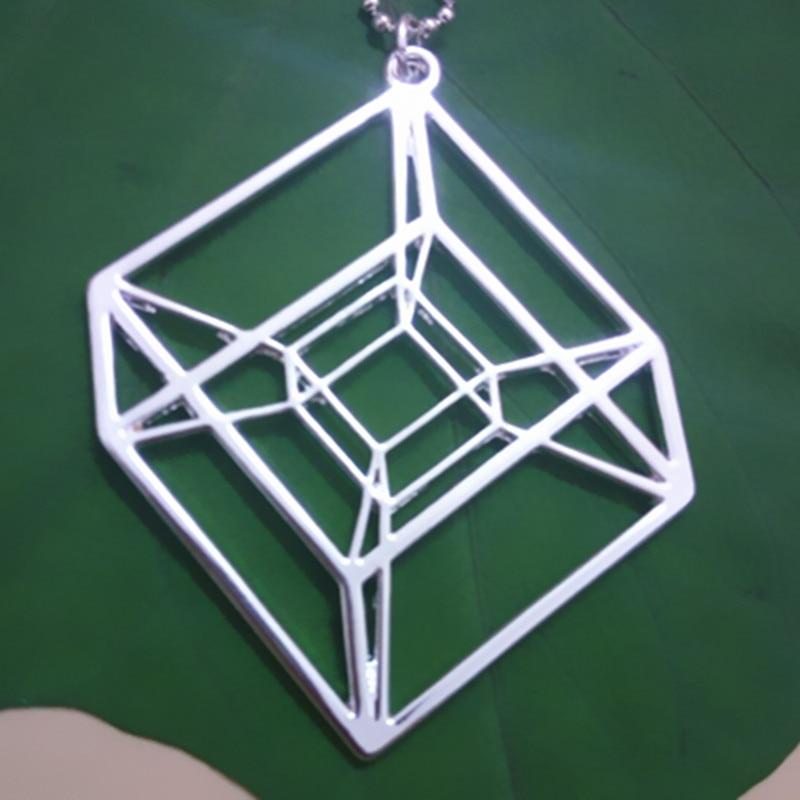 Egy darab Hypercube - arany / ezüstözött geometriai nyaklánc - - Divatékszer - Fénykép 3