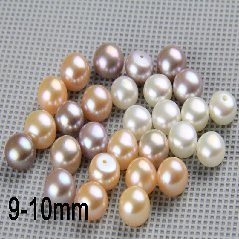 Natural Freshwater Pearl Beads 9-10mm Button Near Round Pearl Pair,0.9mm Half Drilled Matched Pairs,ready For Diy Jewelry Making Beads Jewelry & Accessories