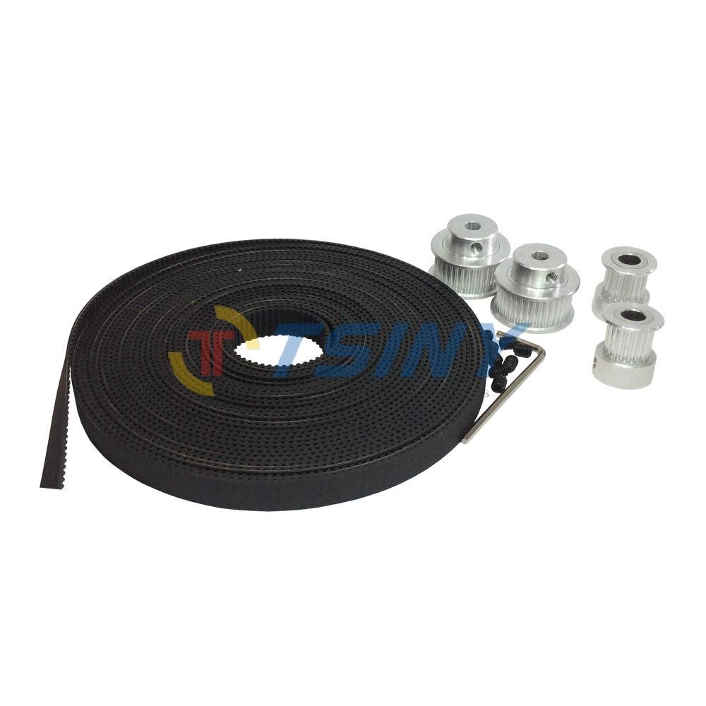 HTD GT2 Alloy Pulley 2pcs 16 Teeth Bore 5mm+2pcs 32 Teeth Pulley Bore 5/6.35/8/10mm and 2GT Timing Belt 5 Meters Belt Width 9mm цены онлайн