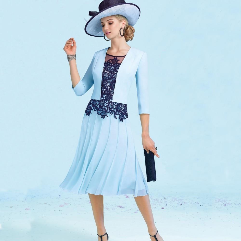 Contemporary Cheap Mother Of The Bride Dresses Tea Length Adornment ...