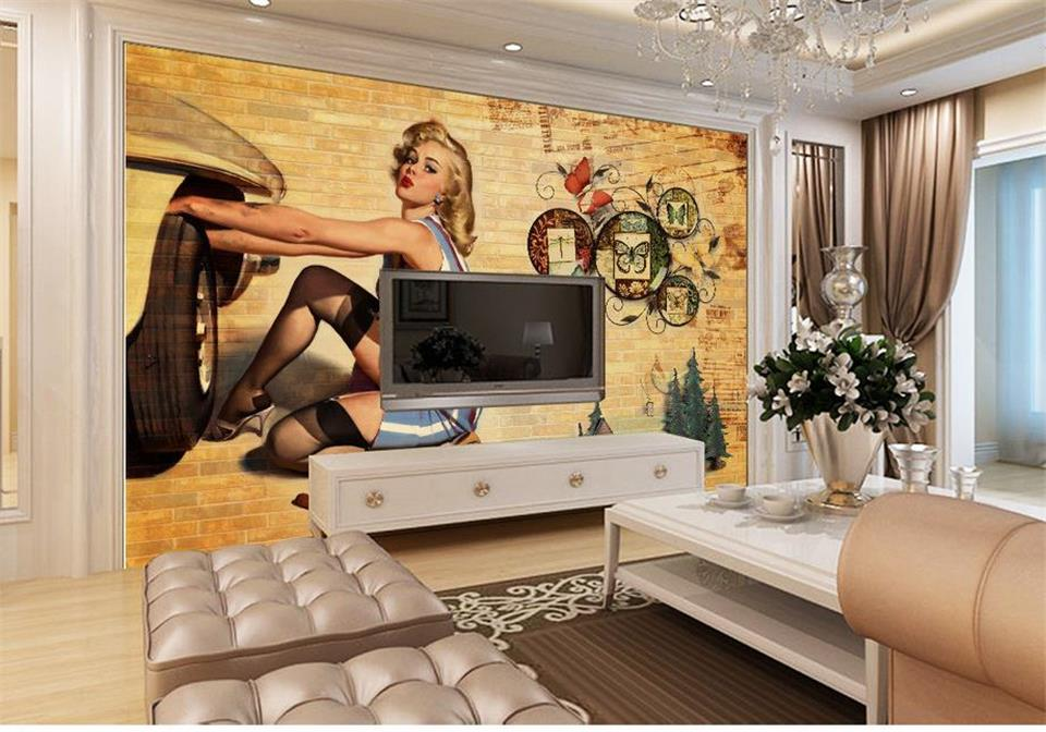 custom mural wallpaper room 3d photo wallpaper car beauty Marilyn Monroe 3d painting sofa TV background wall non-woven sticker marilyn monroe retro wallpaper custom european style movie star настенная панно для постельных принадлежностей