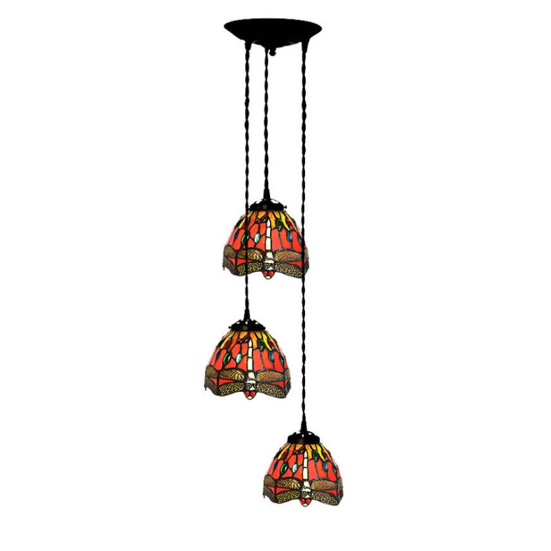 Retro Loft Stained Glass Jewel Dragonfly Luxury 3 LED Pendant Hanging Lamp Light Dining Room Hotel Cafe Pub Chandelier Lighting parrots dragonfly led kitchen dining