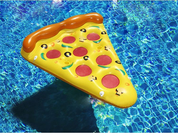 kid's Thicken pizza shape inflatable water toy outdoor swimming ring Adult Child beach pool Sea Toy Summer cute floating bed flamingo white swan inflatable swimming mounts on water floating bed floating row unicorn adult swimming ring