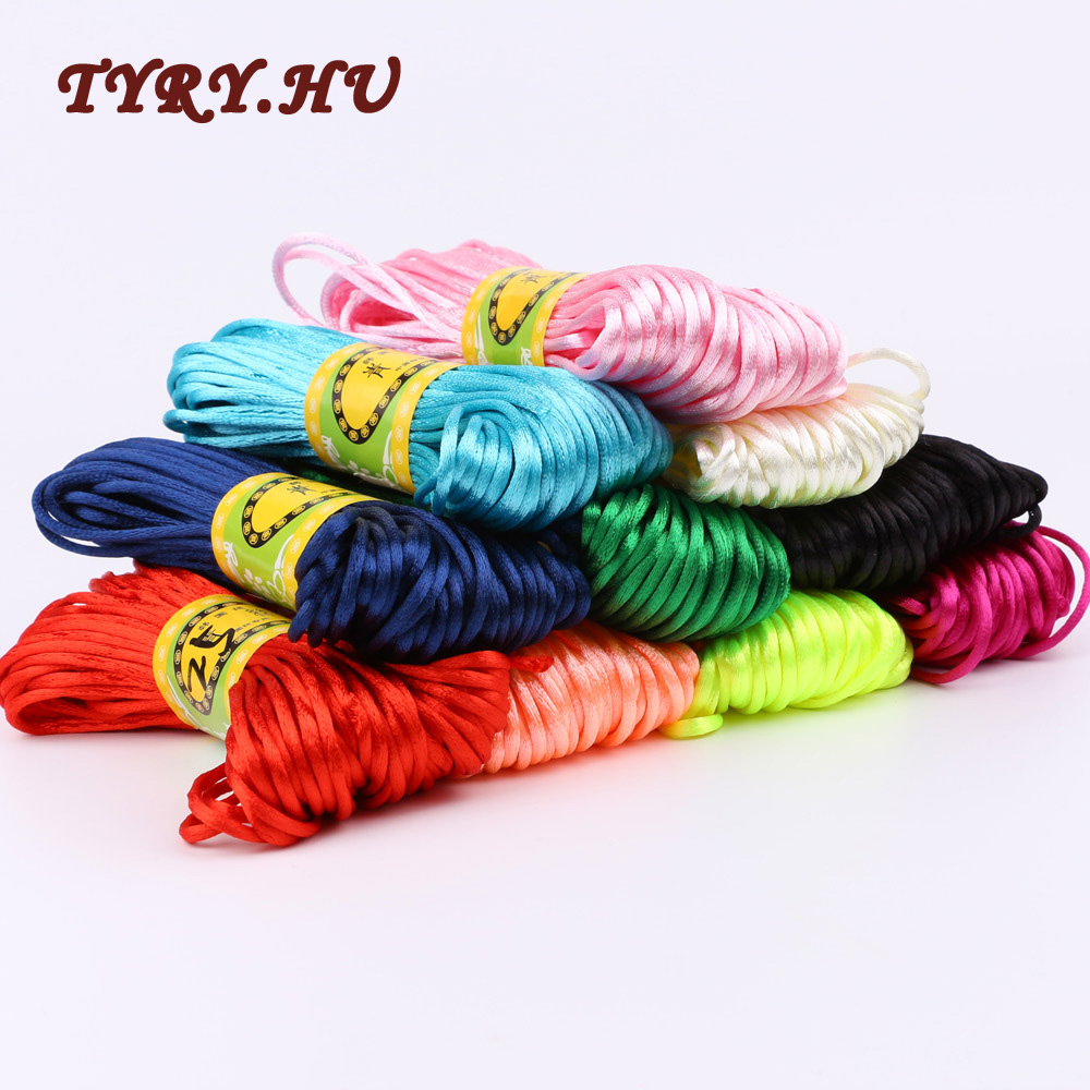 TYRY.HU Multicolor 20M/Bundle 10Colors Soft Nylon Cord Solid Rope For Jewelry Making Safe For Baby Face Tasteless braided Cord