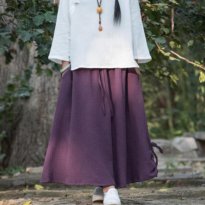 Autumn 2020 Summer Midi Skirt Elastic Waist Casual Solid Color Female Vintage Skirts Plus Size S-4XL 5XL Cotton Linen Skirt Pink