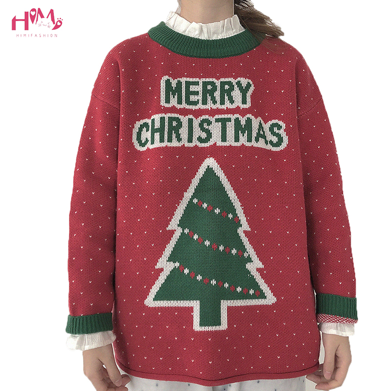Christmas Tree Sweater Womens: Autumn Winter Women Red Christmas Sweater Cute Christmas