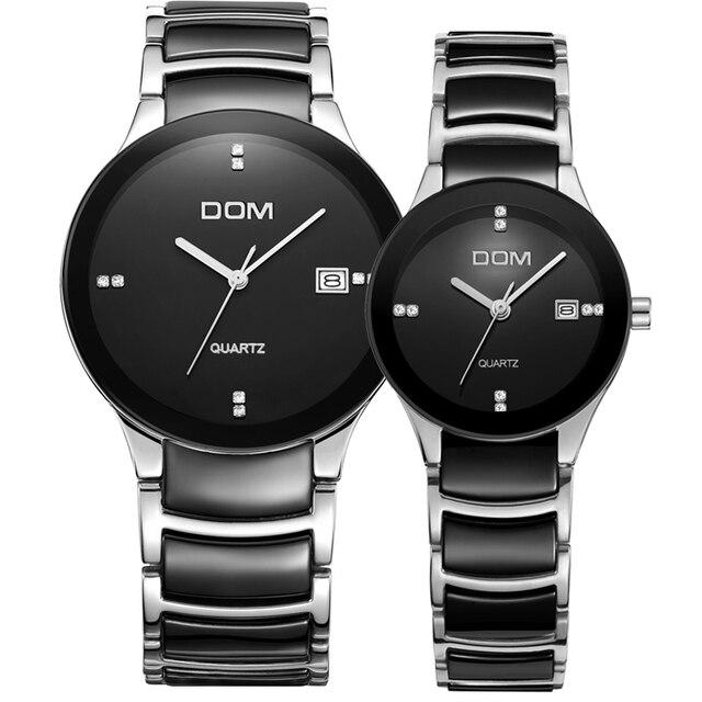 Nueva Marca DOM 100 m Impermeable Reloj de pulsera de Cuarzo de Los Amantes Del Reloj de Estilo de Negocios de Lujo Ocasional de Cerámica Band Fecha Automática Relojes de los Pares