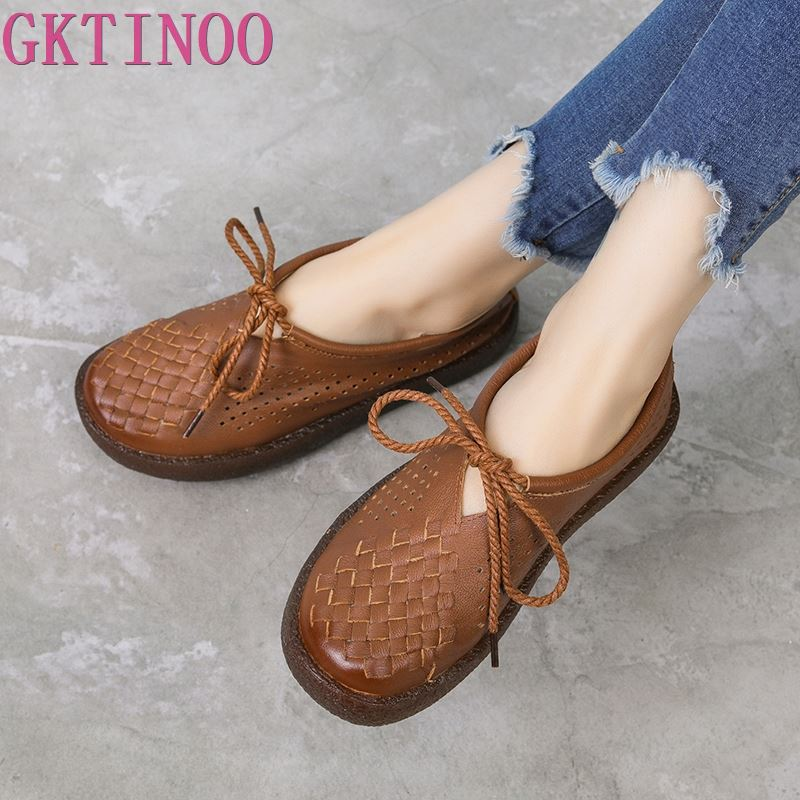 GKTINOO Women Flat Shoes Lace Up Moccasins Soft Genuine Leather Ladies Shoes Handmade Flats Hollow Casual Women Shoes-in Women's Flats from Shoes