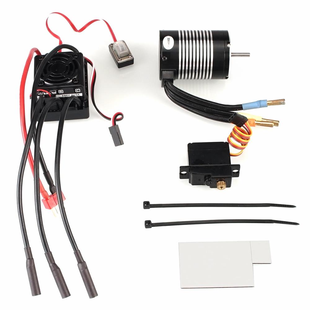 Waterproof B3650 4300KV 3300KV Brushless Motor 60A ESC Metal Servo Assembly Set For WLtoys 12428 A959-B Quality RC Car Parts