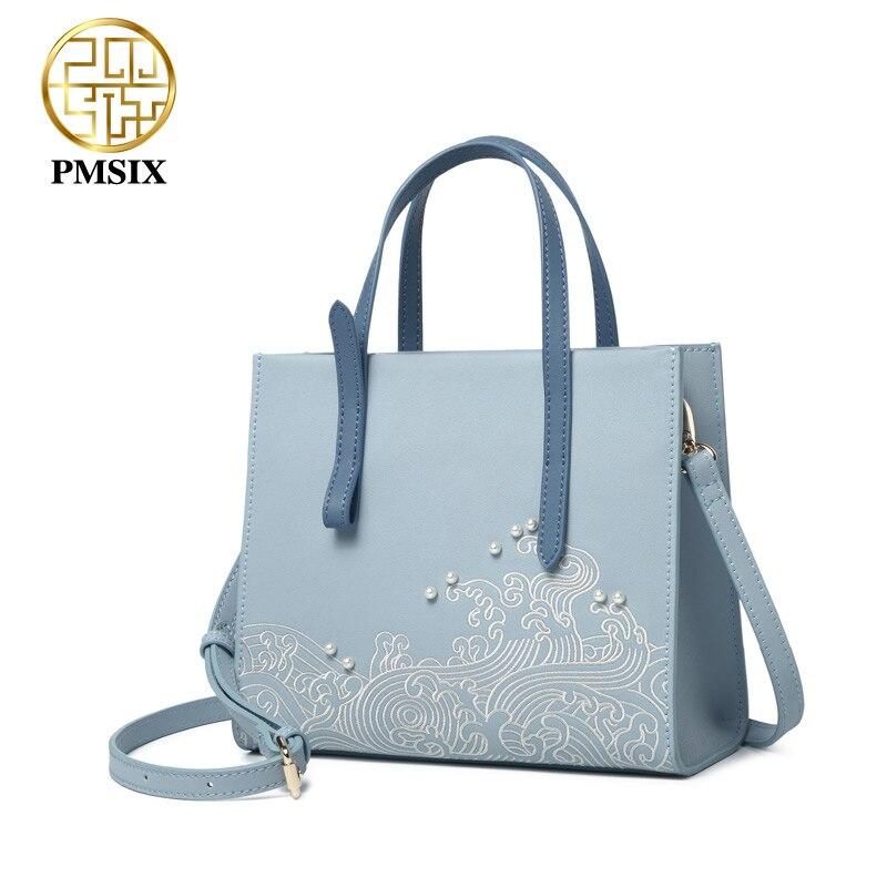 Pmsix designer merk beroemde in womens'bag Borduurwerk parel handtassen Split Lederen klassieke crossbody tassen Eenvoudige kleine vrouwen tas-in Top-Handle tassen van Bagage & Tassen op  Groep 2